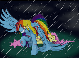 Dashie Protects Fluttershy (Final) by Alaxandir