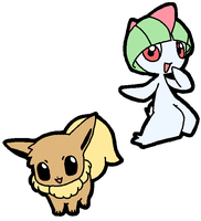 Ralts and Eevee by drill-tail