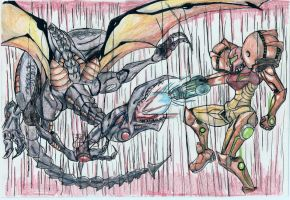 Samus vs Ridley by misterFISH