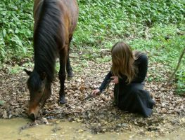 next to the brook,myhorseandme by Promiseoftheraven