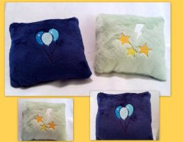 Lightning Dust and OC Cutie Mark Mini Pillows by DogerCraft