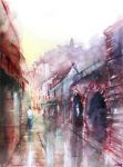 Rocamadour - Watercolor - For sale original -900px by nicolasjolly