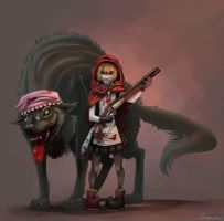 Little Red Riding Hood and her Pet by Quadrackss