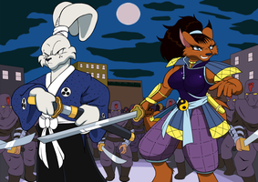 Usagi and Ninjara team up by Droll3