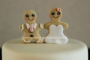 happy gingerbread couple cake toppers by zoesfancycakes