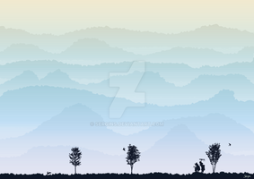 Vector mountains landscape by Sergins