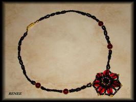 Black and red flower necklace by jasmin7