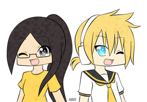point commish: chibi pearl and len by mo0on3