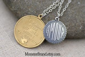 French Medallion Amore Necklace by MonsterBrandCrafts