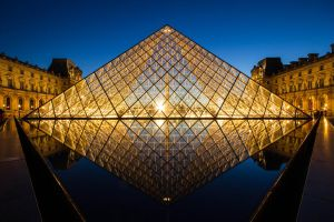 Louvre Pyramid after sunset by digitalbrain
