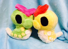 Shiny and Normal Caterpie Palm Plush by GlacideaDay