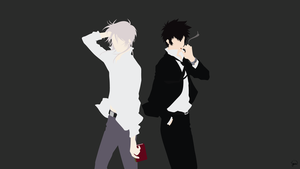 Makishima/Kougami (Psycho Pass) Minimalism by greenmapple17