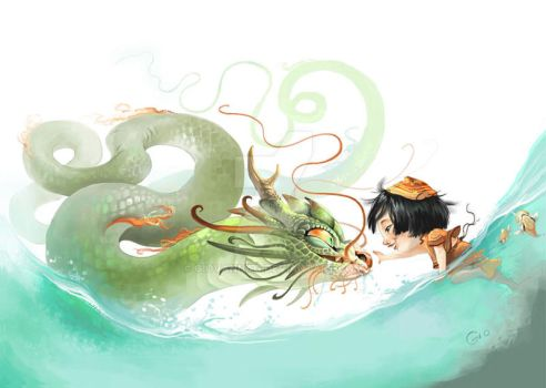 The Girl and The Dragon River by giovannag
