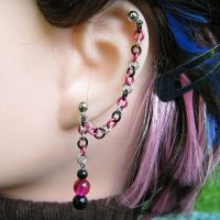 Pink and Black Earring by merigreenleaf