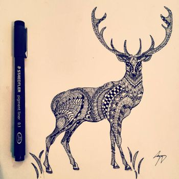 Zentangle Stag Full Body by miss-supernatural