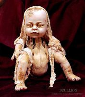 NURSERY CRYMES Skullion -Gothic Horror Doll Art by NAKT-HAG