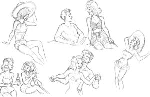1940's-50's Sketches by StrawberrieCandie