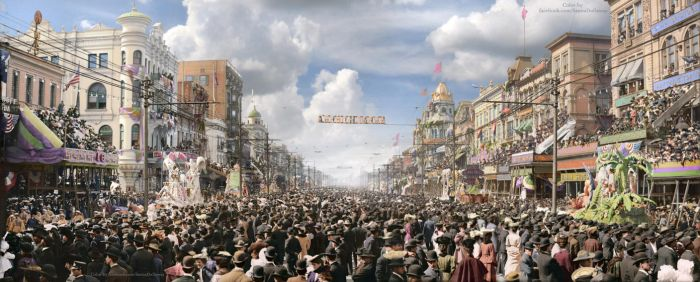 Mardi Gras, New Orleans, ca 1907 Colorized by Mygrapefruit