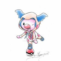Mime Jr Clowning around in a Mr. Mime Onsie by ItsBirdyArt