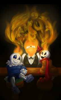 Grillby with young Sans and Papyrus by Melle-d
