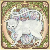 art nouveau cat by double9
