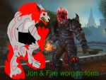 Jon and Fire Worgen by TheLegendofCody