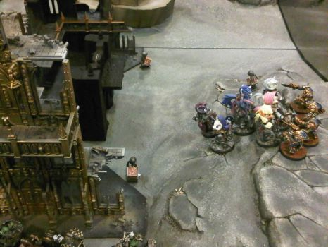 Battle 3 against Chaos Space marines by azurevine
