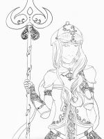 Lady Knight Line Art/Coloring Page by NeoSailorCrystal
