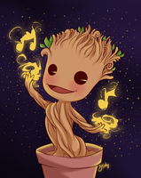 Groot cute dancing version by Naty-Ilustrada