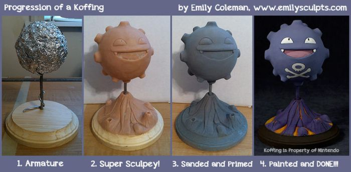 Progression of a Koffing! by emilySculpts