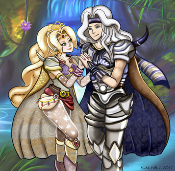 Art Trade- FFIV- Cecil and Rosa by The-Card-Player