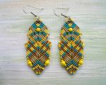 Bohemian Feathers - yellow teal gold beige by borysbrytva