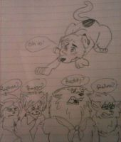 Scooby-Doo_Mys. Inc Werewolves surrounding Scooby by LoonataniaTaushaMay