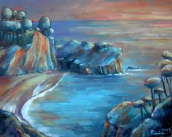 Sunset seascape 2 oil paint by Boias
