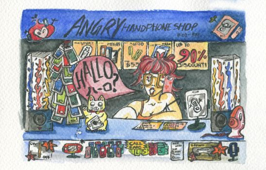 ANGRY Girl Handphone Shop by harumaruchi