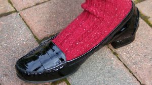 Jane's Red Wool Socks + Black Patent Penny Loafers by peerlesspenny