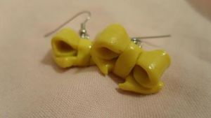 Yellow Bow Earrings by Pinkiebel