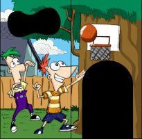 Phineas and Ferb playground wall by xAndyLG