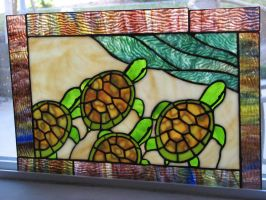 Stained Glass Sea Turtles by tursiart