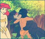 Bagheera hugging Mowgli with Ariel by jazz316