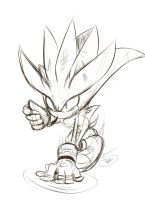 Sketch Silver the hedgehog by Zubwayori