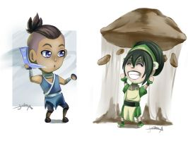 Toph and Sokka by IcaZell