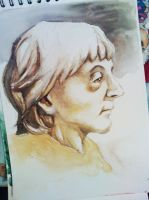 Old lady - watercolor study by AllyEdFrown