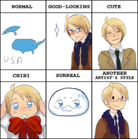 Hetalia meme - America in different styles by megane-no-buta