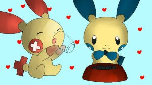 Plusle and Minun Colored by RoflAndrea