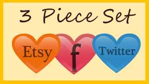 3 Piece Icon Pack -Set - Etsy - Facebook - Twitter by lyssagal