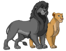 Lion Couple by RaynaLioness