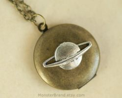 Saturn Locket - Necklace by MonsterBrandCrafts