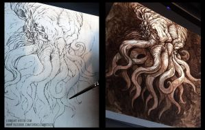 Cthulhu UnderPaint by TentaclesandTeeth