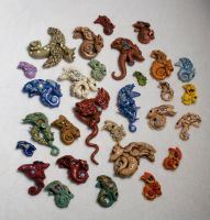 Polymer Clay Lots of Dragons by amazoncat